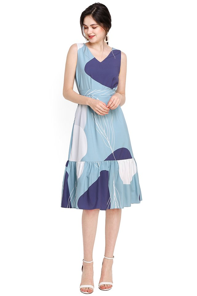 Sunshine After Rain Dress In Blue Prints