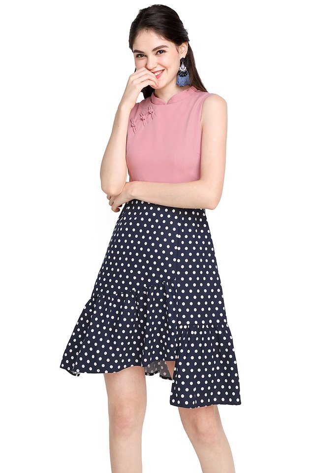 Royal Affection Cheongsam Dress In Pink Dots
