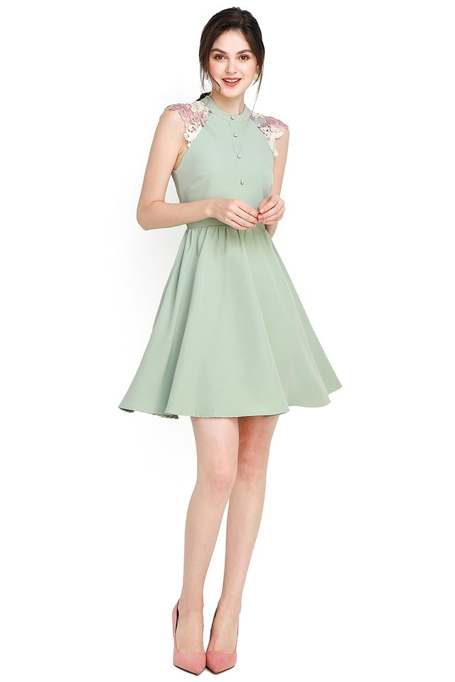 Wisteria Garden Dress In Jade
