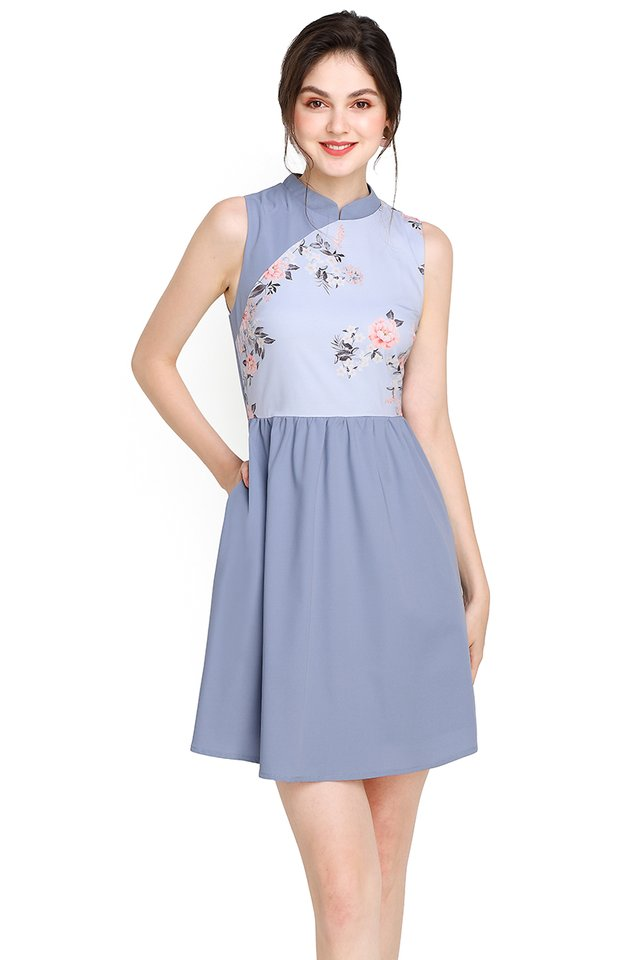 Budding Romance Cheongsam Dress In Periwinkle