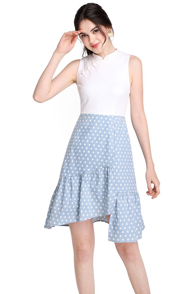 Royal Affection Cheongsam Dress In Sky Dots
