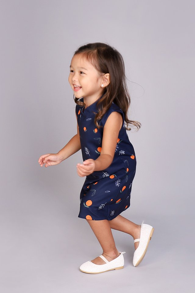 Orange You Cute Cheongsam Dress In Blue Prints