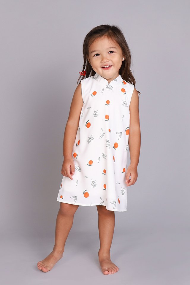Orange You Cute Cheongsam Dress In White Prints