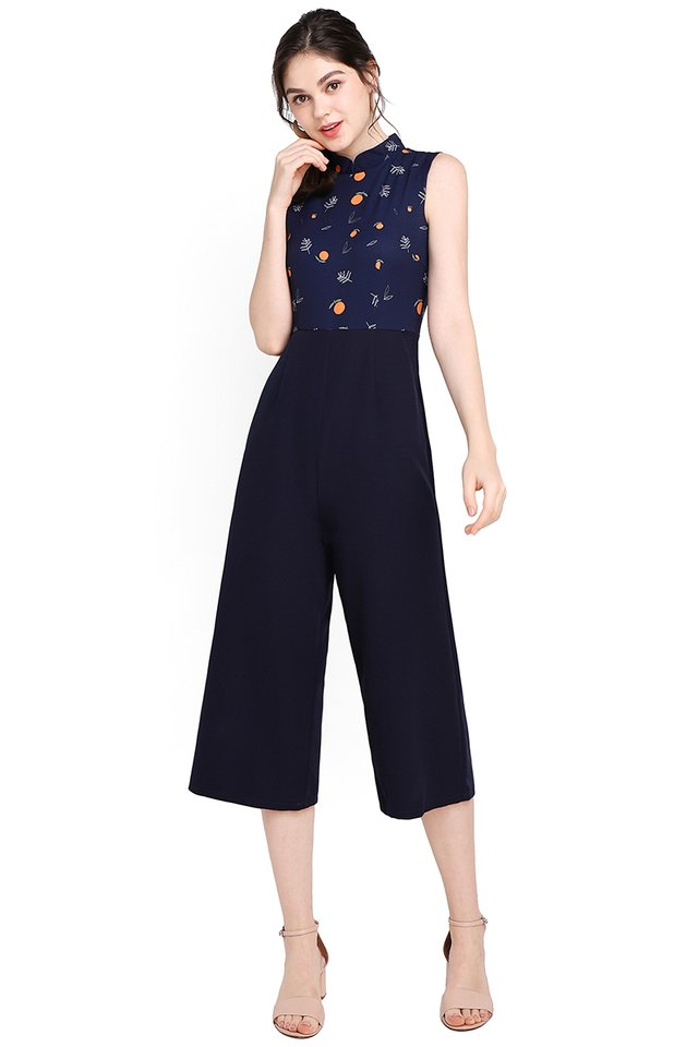 Fruits Of Labour Cheongsam Romper In Navy Blue