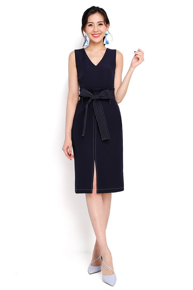 State Street Dress In Navy Blue