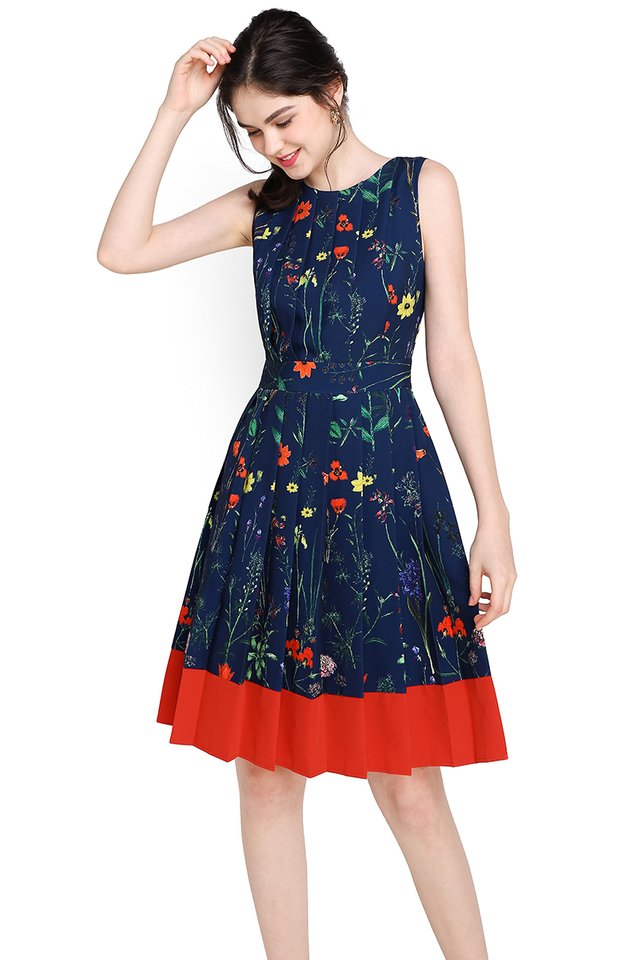 Garden Party Dress In Blue Tangerine
