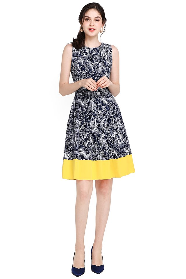 Garden Party Dress In Blue Yellow