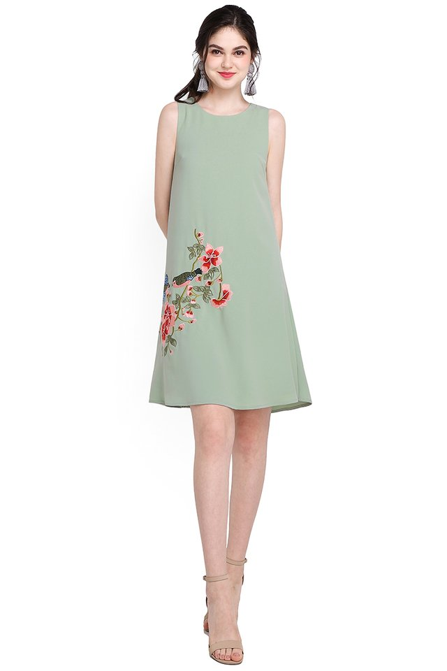 Swallow's Affection Dress In Jade