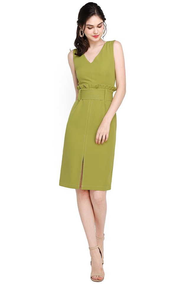 State Street Dress In Lime