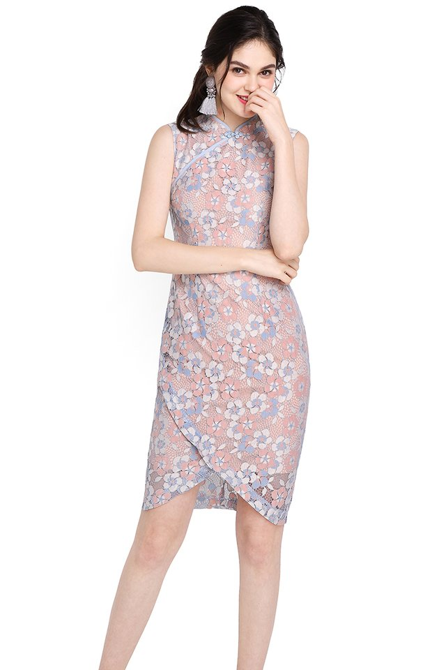 Moonriver Cheongsam Dress In Sky Lace
