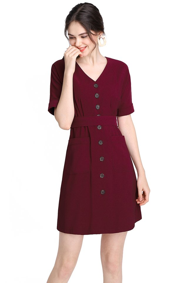 Stating The Basics Dress In Wine Red
