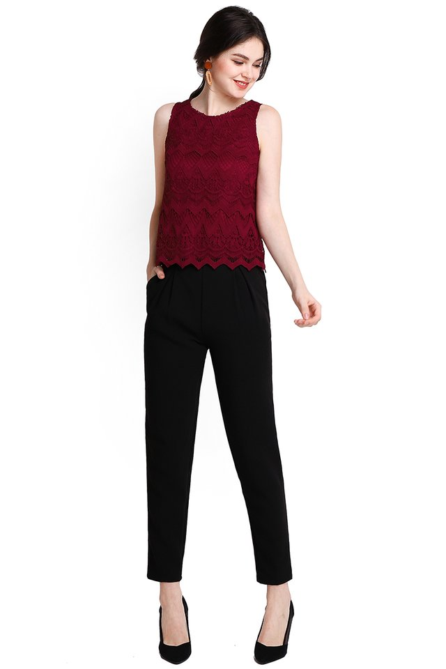 Season Of Abundance Top In Wine Red