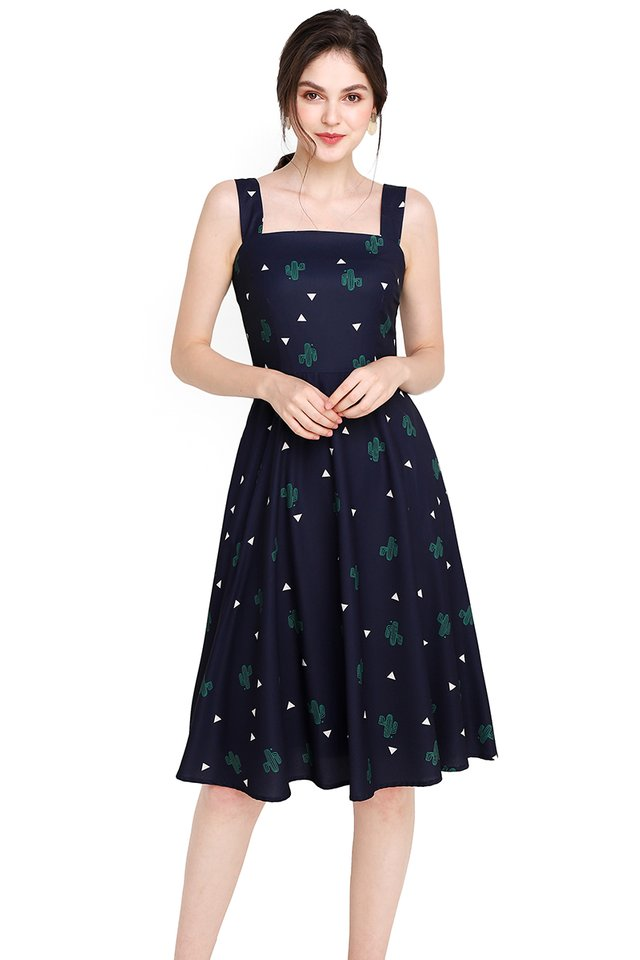 Bloom Where You Are Planted Dress In Blue Cactus