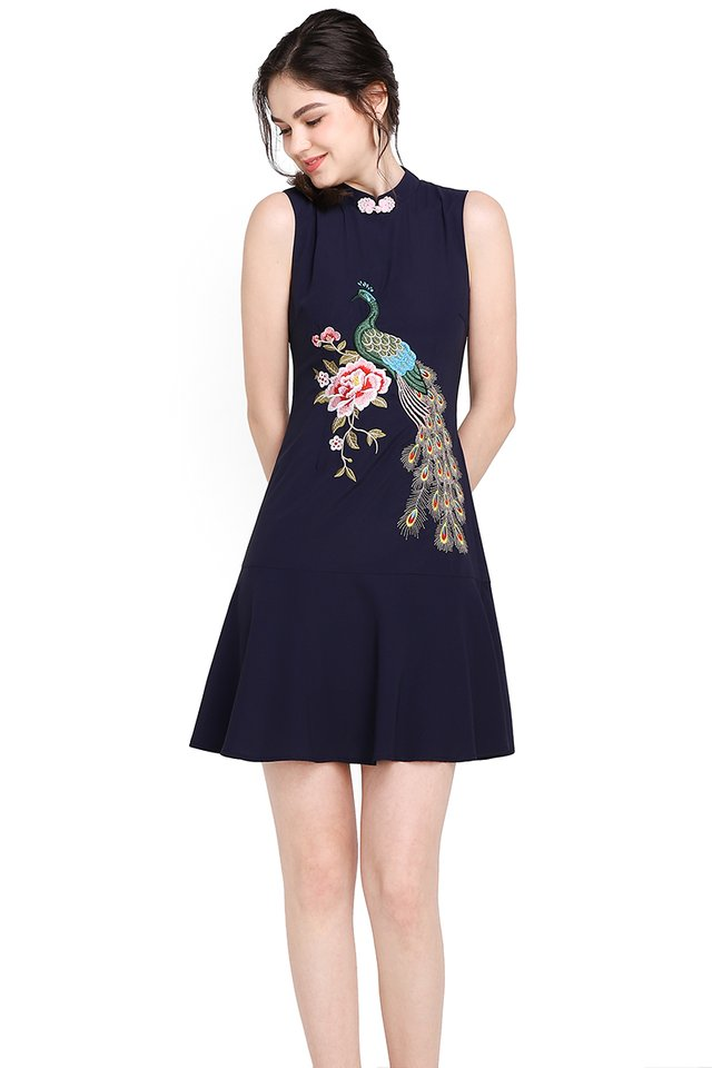 Quiet Grandeur Cheongsam Dress In Navy Blue