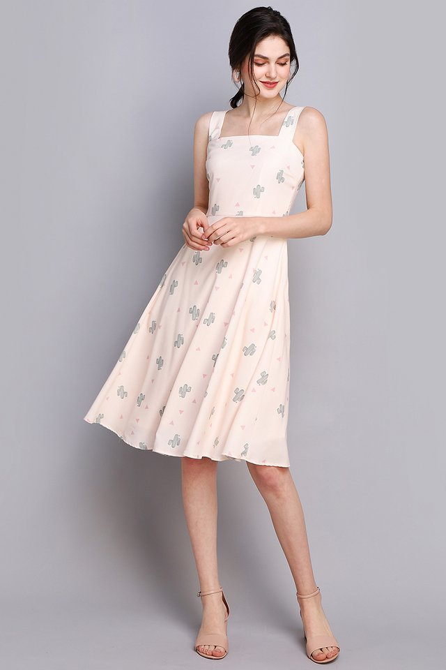 Bloom Where You Are Planted Dress In Cream Cactus