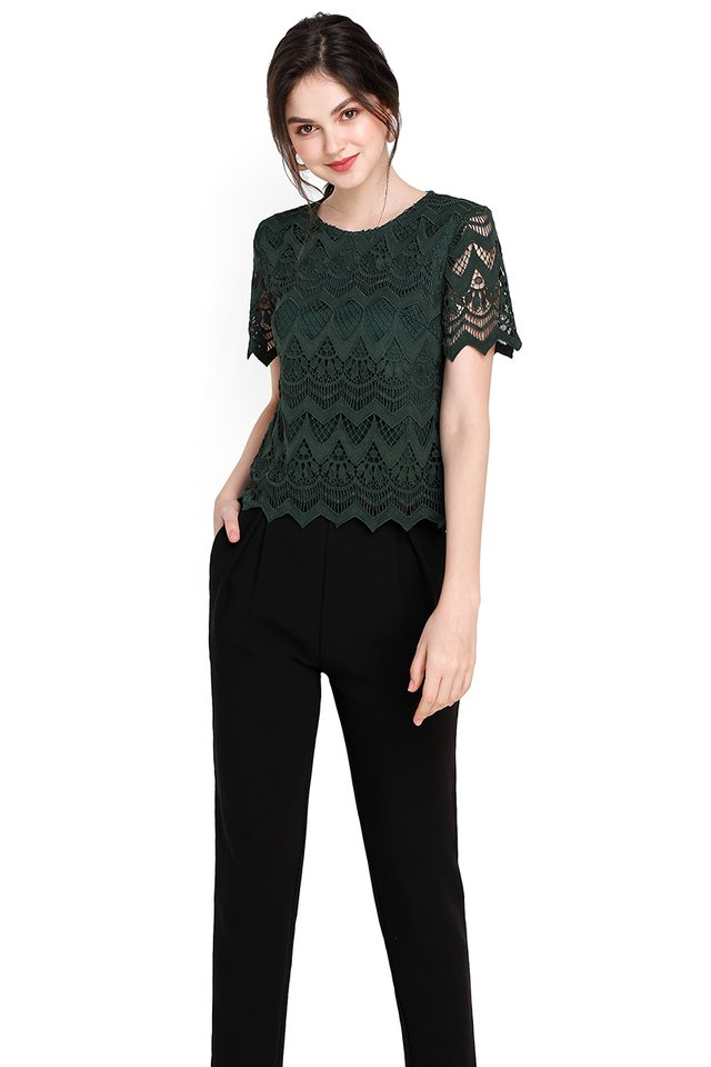 Life Is Good Top In Forest Green
