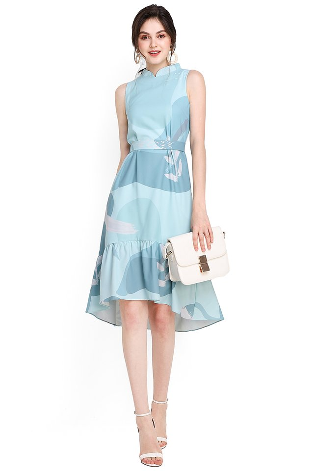 Misty Ocean Cheongsam Dress In Mint Prints