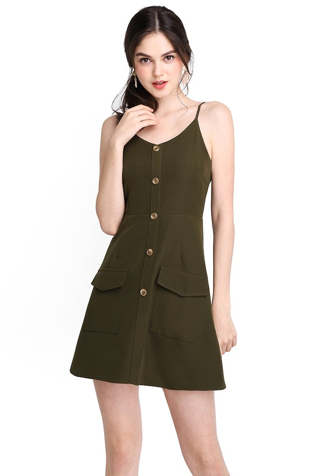 Dreamer And Doer Romper In Olive Green
