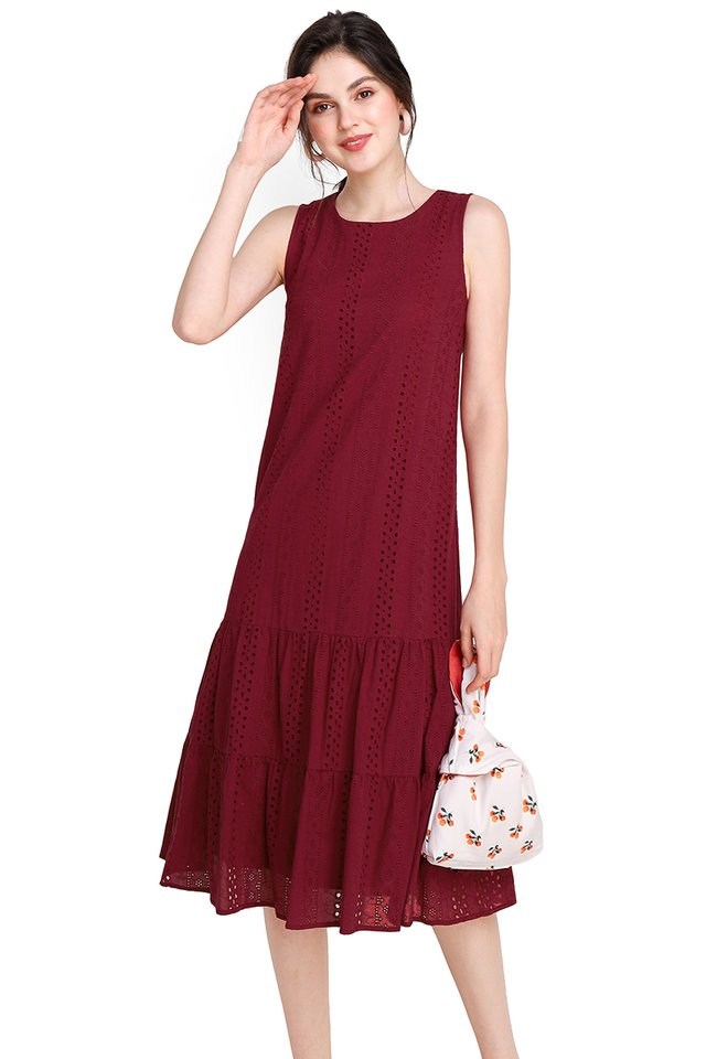 Dreamy Delight Dress In Wine Red