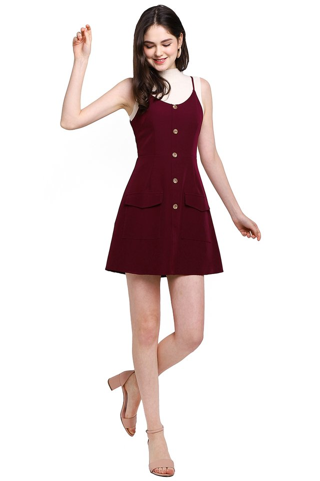 Dreamer And Doer Romper In Wine Red