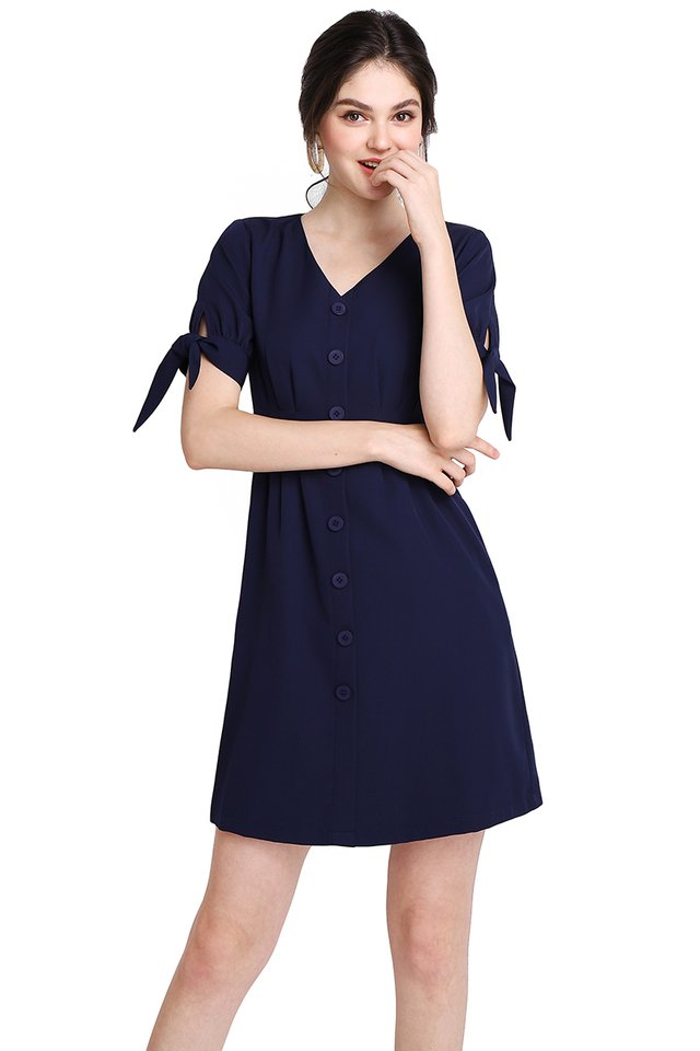 Warm Affection Dress In Navy Blue
