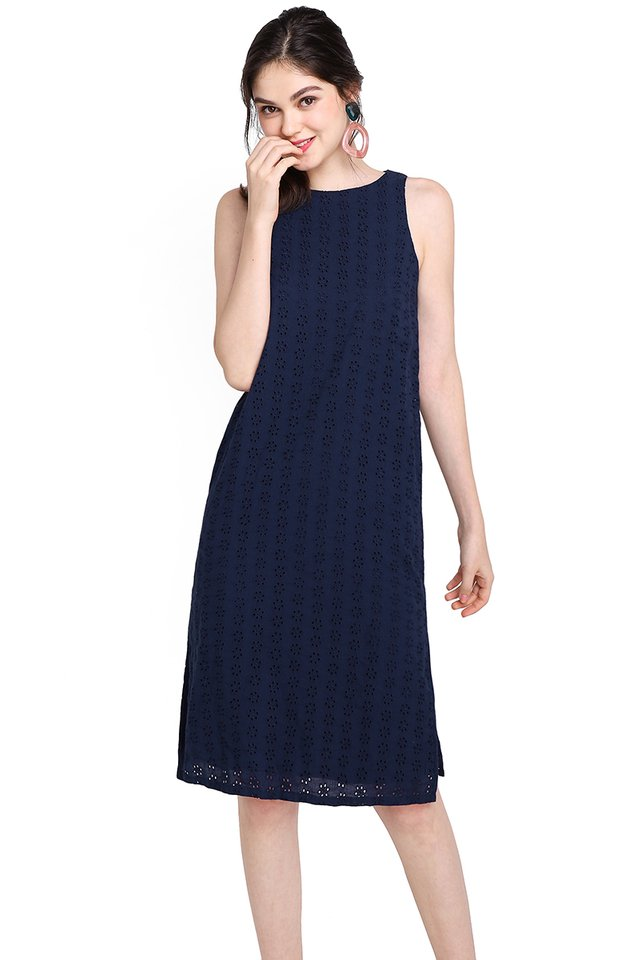 Warm Embrace Dress In Navy Blue