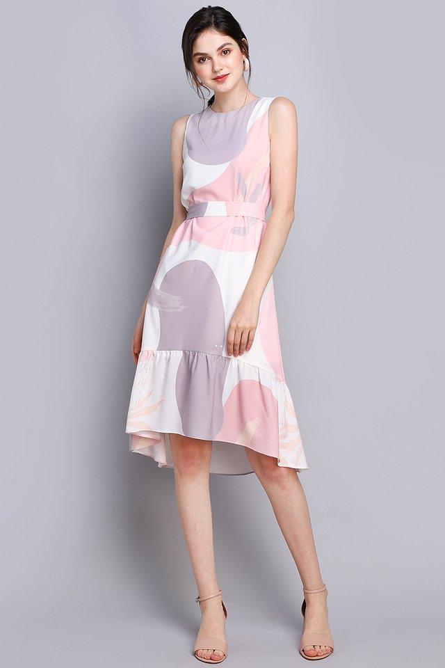 Misty Ocean Cheongsam Dress In Pink Prints