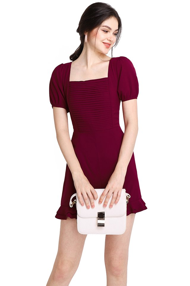 Pretty Pleats Romper In Wine Red