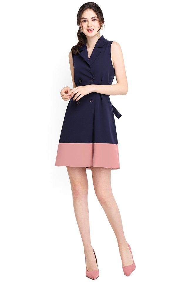 London Moments Dress In Blue Pink