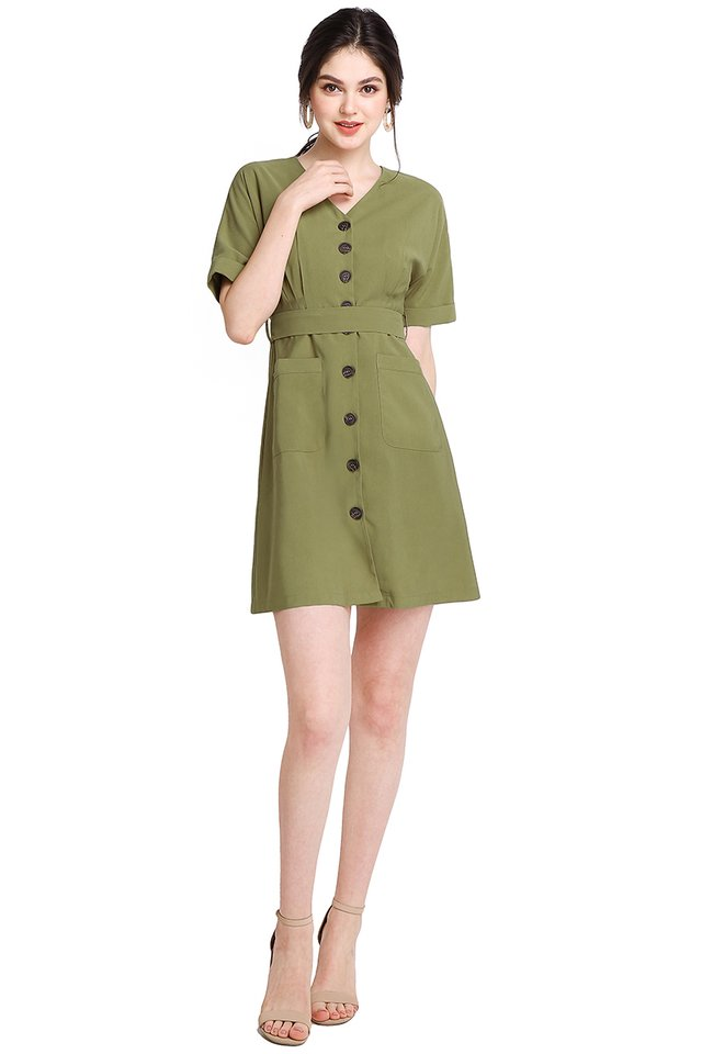 Stating The Basics Dress In Olive Green