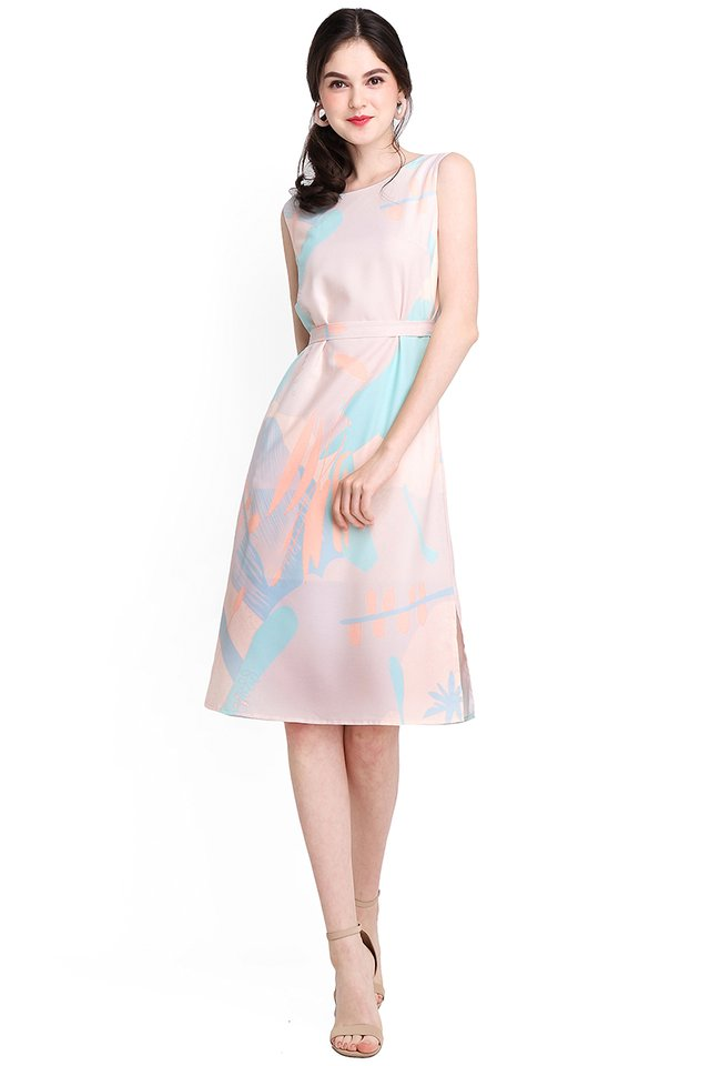 Youth Narration Dress In Cream Prints