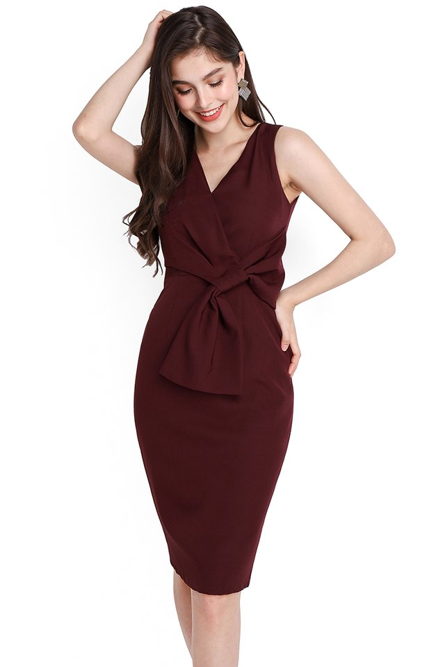 Endless Charm Dress In Wine Red