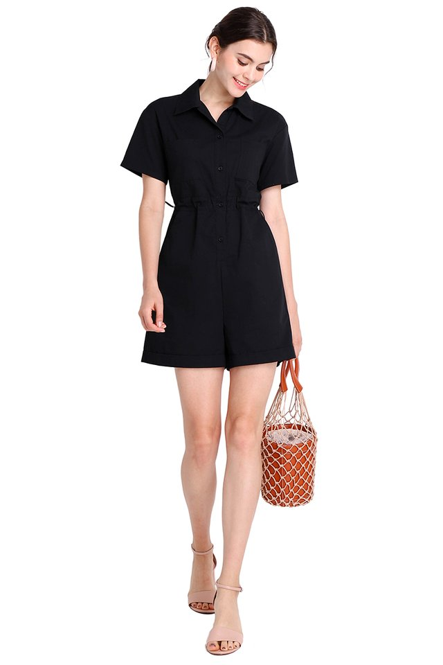 Hearts In Her Eyes Romper In Classic Black