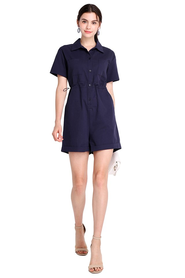 Hearts In Her Eyes Romper In Navy Blue