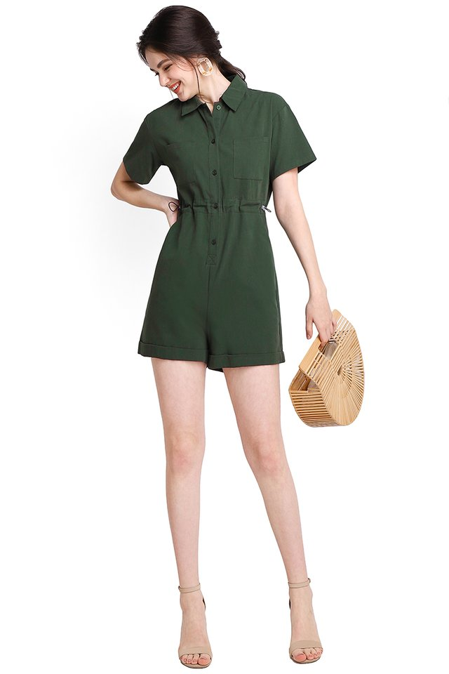 Hearts In Her Eyes Romper In Forest Green