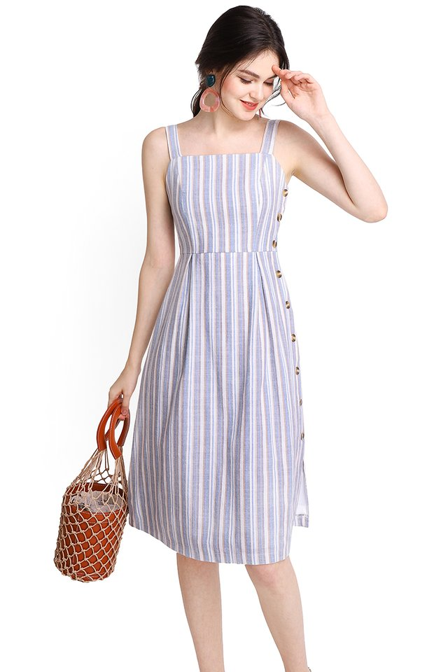 Daytime Darling Dress In Blue Stripes