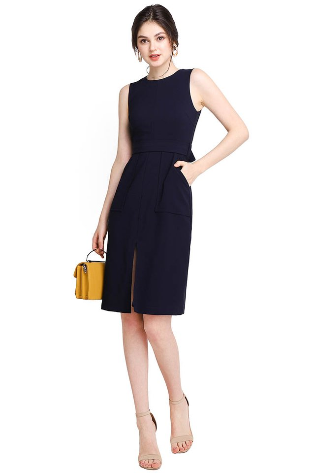 The Romanticist Dress In Navy Blue