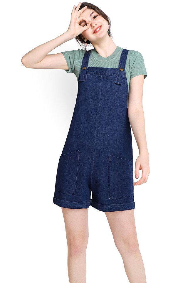 My Huckleberry Friend Romper In Dark Wash