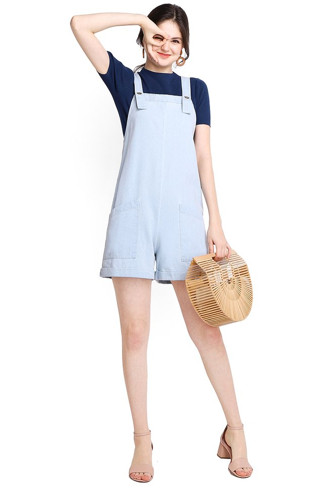 My Huckleberry Friend Romper In Light Wash