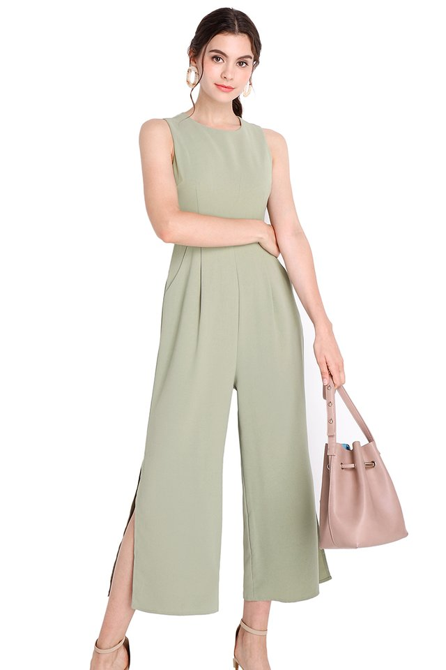 Good Vibes Romper In Sage Green