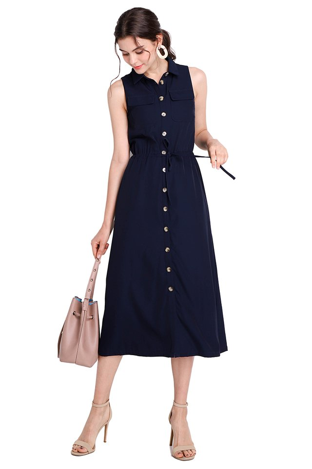 Adventure Awaits Dress In Navy Blue
