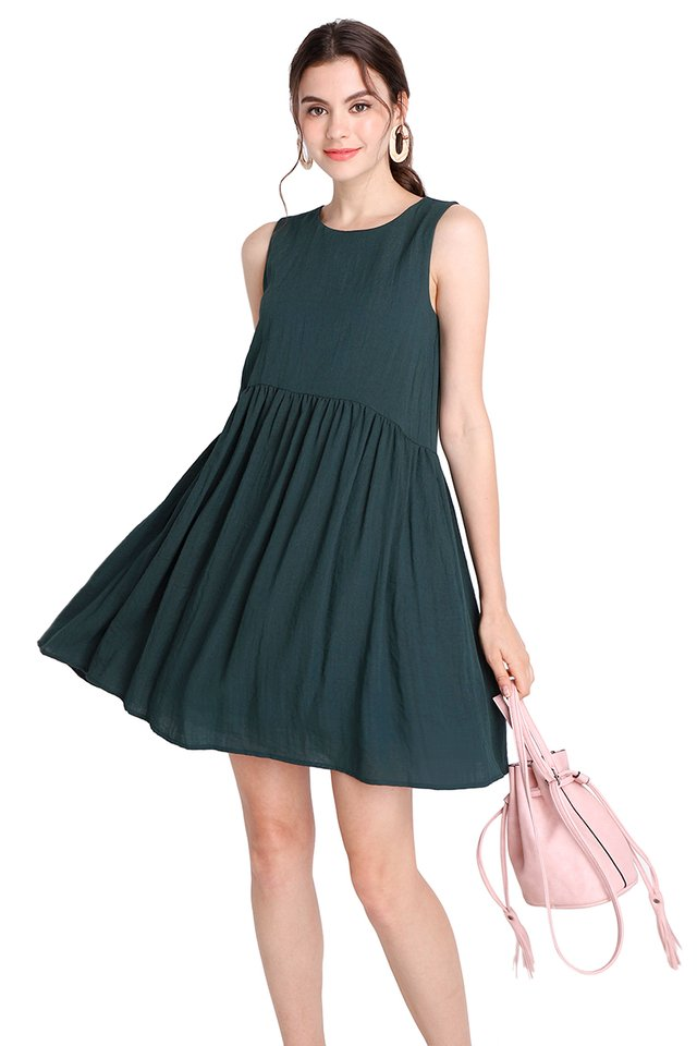 Sunny Forecast Dress In Forest Green