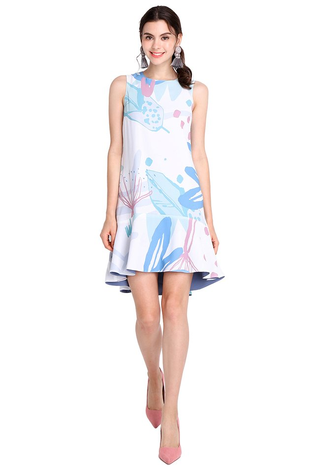 Dream Mirage Dress In White Prints