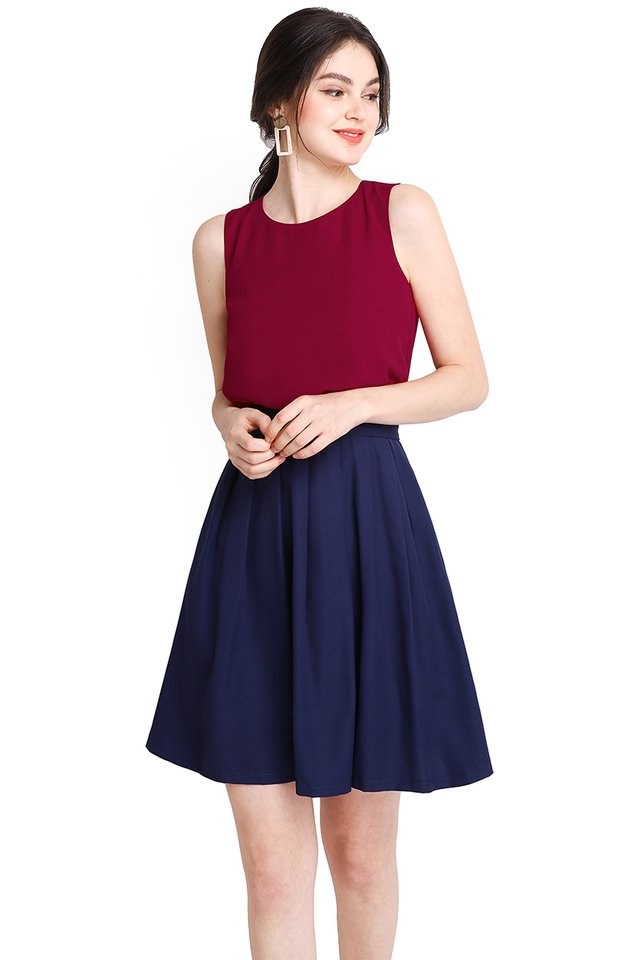 Colour Harmony Dress In Wine Blue