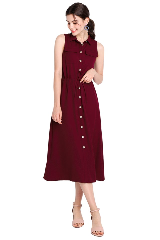 Adventure Awaits Dress In Wine Red