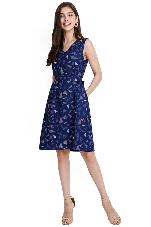 Shapes And Puzzles Dress In Blue Prints