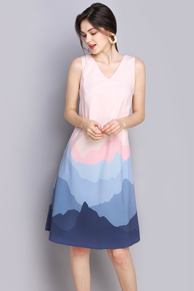 Rainbow Of Love Dress In Blue Mural