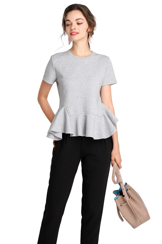 Keeping It Casual Top In Heather Grey
