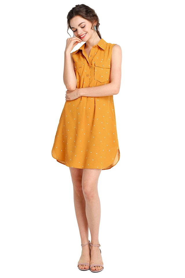 Fun For All Dress In Mustard Dots