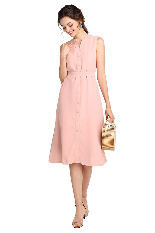 Sunshine Steps Dress In Dusty Pink